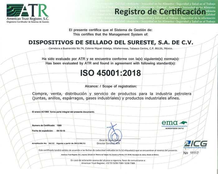 Certificado ISO 45001:2018